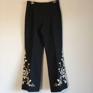 Embroidered Flare Leg Boho Pants Embellished Wide